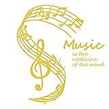 Cczxfcc 59x66cm la música es la medicina de la mente pegatinas de pared notas musicales stave home decor living room tatuajes de pared