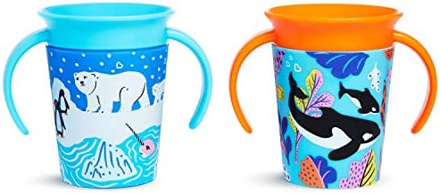 Munchkin Miracle 360 Wildlove Sippy Cup 6 Oz 2 Pack Orca Polar Bear product image