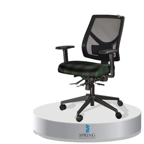 Spring Seating Bürostuhl / Bürostuhl, modernes Design, Netzstoff, Schwarz / Tartan-Stoff, gebogene Rückenstütze, 5 Farben zur Auswahl, Grün