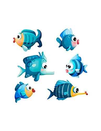 Stickers de la mer : Poissons bleus - Format : 30 x 17 cm