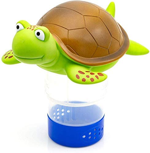 "WWD POOL Premium Animal Floating Pool Chlorine Dispenser for Chemical Tablets Fits 3"" Tabs Bromine Holder (Turtle)"