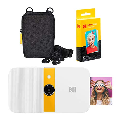 KODAK Smile Cámara Digital de impresión instantánea (Blanco/Amarillo) Soft Case Kit
