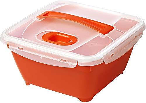 Rotho Micro Complete Mikrowellen-Lunchbox mit Deckel, Innentray und Besteck, Kunststoff (PP) BPA-frei, rot/weiss, 1,7l (19,3 x 19,3 x 10,9 cm)