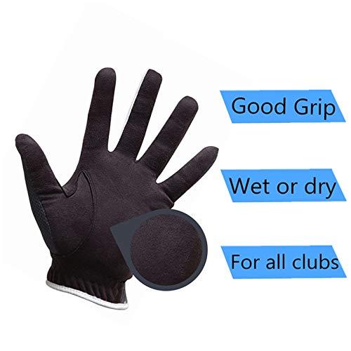 Men's Golf Glove Rain Grip Black Grey Pack, Durable Fit for Hot Wet...