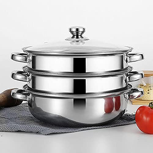 Professional Induction Safety Stainless Steel Pot with Glass Cover Suitable for All Stove Series Single Layer Double Layer Household Soup Steamer Mirror Polished,Three Layers