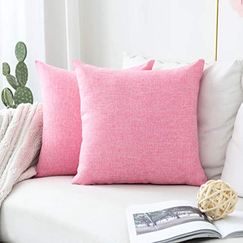 Home Brilliant Set of 2 Decorative Lined Linen Euro Sham Throw Pillow Cover for Couch Sofa, 20x20 inches (50cm), Barbie Pink