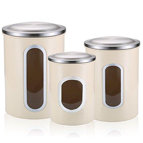 Lebensmittelbehälter, 3 Stück, Anti-Fingerabdruck-Edelstahl, Lebensmittelaufbewahrungsdosen-Set, Mehrzweck-Fensterdosen-Set, Aprikose
