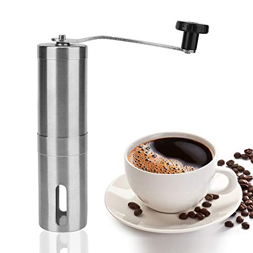 Manual Coffee Grinder, Whole Bean Conical Burr Mill for French Press/Turkish-Strongest and Heaviest Duty, Packaging May Vary, Hand Size, Brushed Stainless Steel