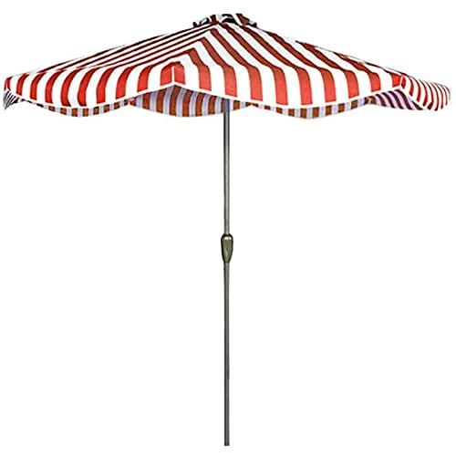 HHTJ Toldo Al Aire Libre Sombrilla de Jardín de Patio de 2,5 m - Sombrilla de Playa,Parasol para Camping con Manivela Y Poste de Aluminio de 38 mm, Rayas