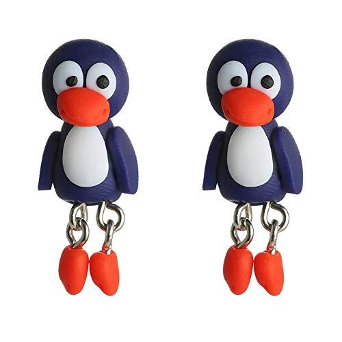 Doitsa 2pcs Aretes de Pinguino Dibujos Animados Pendientes de Joyería Hechos a Mano para Niñas Hombres, Long 3.5cm