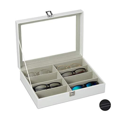 Relaxdays Caja Gafas con 8 Compartimentos, Organizador, 1 Ud., Cuero Sintético-Cristal, 8,5 x 33,5 x 24,5 cm, Blanco (10027257_49)