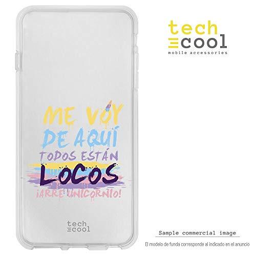 Funnytech Funda Silicona para Huawei P8 Lite 2017 [Gel Silicona Flexible, Diseño Exclusivo] Frase Unicornio Loco Transparente