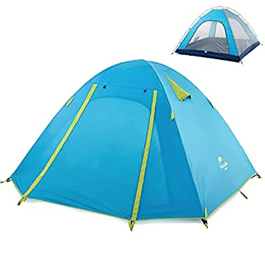 TRIWONDER 2-3-4 Person 3 Season Camping Tent Double Doors Lightweight Waterproof Double Layer Backpacking Tent for Camping Hiking (Azure, 3-4 Person)