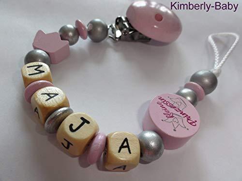 Premium Schnullerkette mit Namen rosa – silber – Krone – Kleine Prinzessin