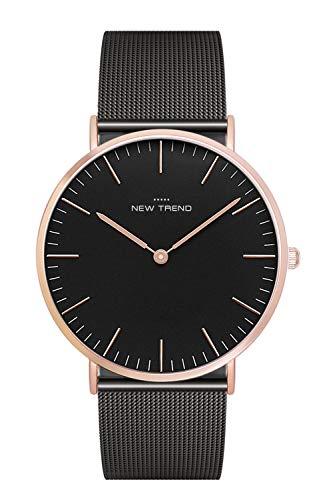 New Trend Armbanduhr, Damen-Uhr, Herren-Uhr, Analog Quarz-Uhr, Edelstahl Metallarmband Farbe: Schwarz Rosegold