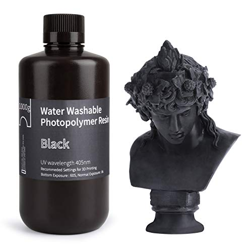 ELEGOO Stampante 3D lavabile in acqua Resina rapida LCD Resina fotopolimerizzante UV 405nm Resina fotopolimerica standard per stampa 3D LCD 1000Gram Nero