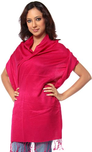 Exotic India Plain Silk de Pashmina Stole from Nepal
