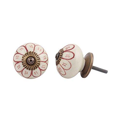6 pieza de cerámica artesanal Indianshelf Granate Girasol cajón archivador pomos de puertas armario APARADOR Aparador tira de nuevo en línea
