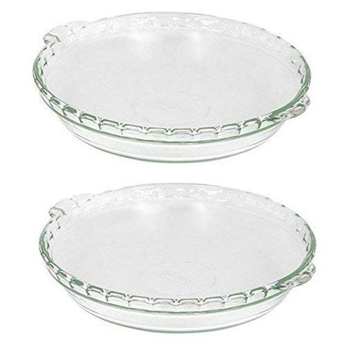2 X Pyrex Bakeware 9-1/2-Inch Scalloped Pie Plate, Clear