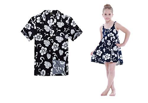 Vestido elástico de la Correa de Luau de la Danza Hawaiana de la Hija del Padre a Juego de la Hija en Azul Floral XL4