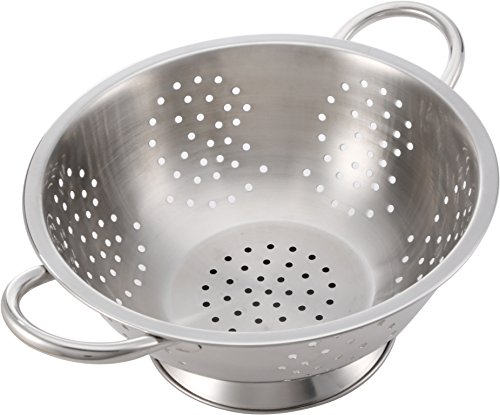 Wirezoll Pro Chef Kitchen Tools Stainless Steel Colander Strainer - Metal Kitchen Sink Pasta Drainer with Wide Grip Basket Handles to Strain Large Pots Noodles, Fruits, Vegetables