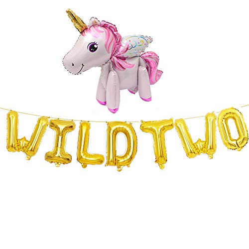 WILD TWO Balloons,Gold Letter Foil Balloons for Baby 2nd Birthday,Baby Girl Boy 2nd Bday funny party with Rainbow Horse Unicorn(gold).