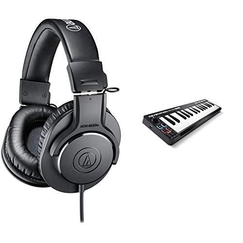 audio-technica Professional Monitor Headphones ATH-M20x Studio Recording, Musical Instrument Practice, Mixing, DJ, Game, Black & M-Audio USB MIDI Keyboard, 32 Keys, Avid Pro Tools First M-Audio Edition Included Keystation Mini 32 MK3