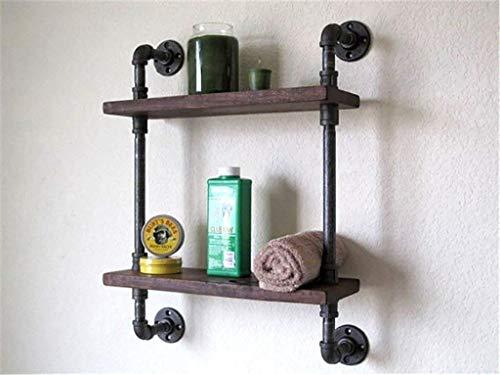 YLCJ Wandrek, wandmontage, loft, wanddecoratie, loft, boekenrek, van ijzer, woonkamer, boekenrek, van massief hout, retro, met waterleidingen, wandplanken, display