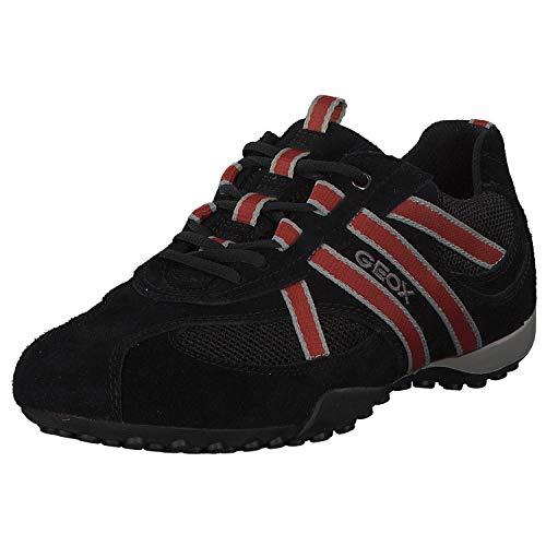 Geox U2207S Snake Sportlicher Herren Sneaker, Schnürhalbschuh, Freizeitschuh, atmungsaktiv, lose Einlegesohle, 42 EU, Schwarz Schwarz Orange