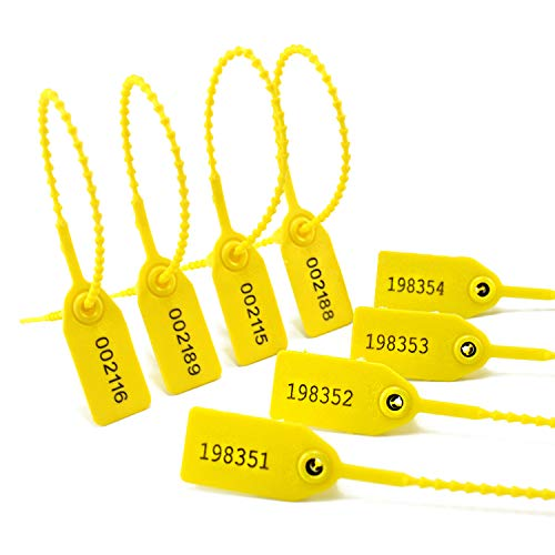 100 Plastic Tamper Seals, Zip Ties for Fire Extinguishers Pull Tite Security Tags Numbered Disposable Self-Locking Tie 250mm Length (Yellow)