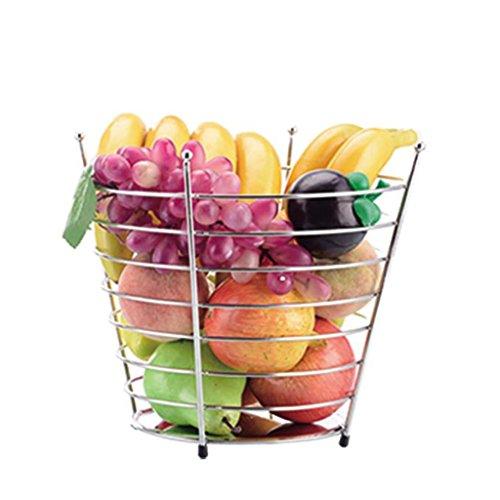 RFJJAL Silberner runder Frucht-Edelstahlkorb, kreatives Wohnzimmer-Gebäck-Gestell, Hauptgroßraum-Frucht-Korb (Size : High 23cm)