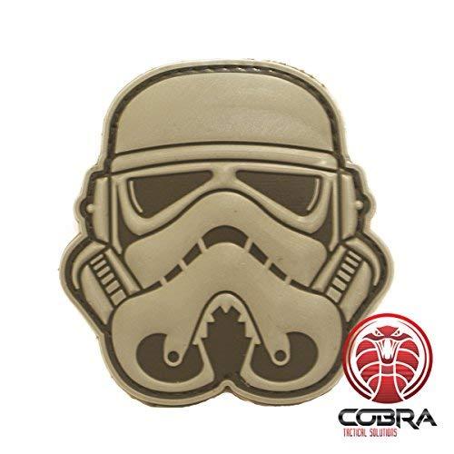 Cobra Tactical Solutions Star Wars Stormtrooper Canoso Parche PVC Táctico Moral Militar con Cinta adherente de Airsoft Paintball para Ropa de Mochila táctica