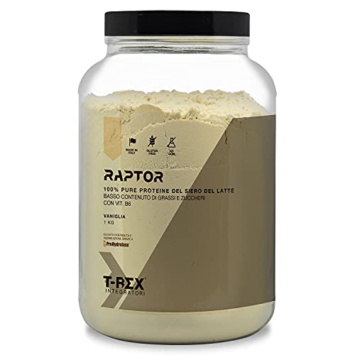Whey Protein RAPTOR Proteine del siero del latte isolate concentrate VOLAC  gusto VANIGLIA - Confezione da 1 kg T-Rex Integratori 100% Made in Italy
