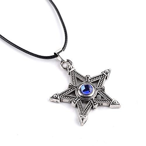 DTKJ Anime Black Rock Shooter Halskette Pentagramm Stern Kreuz Leder Kette Charms Choker Vintage Anhänger Männer Frauen Schmuck Fans Geschenk