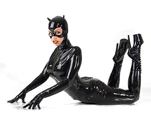 XDB Mujer Cosplay Catwoman Jumpsuit Disfraz Vestido Cuero De PU Catsuit Elegante Body Ajustado Plus Size S-5XL (S)