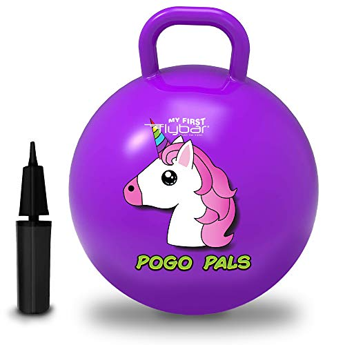 Flybar My First Pogo Pals Hopper Ball for Kids, Bouncy Ball with Handle, Balance Ball for Kids, Ages 10 and up, Air Pump Included (Unicorn Purple, Large)
