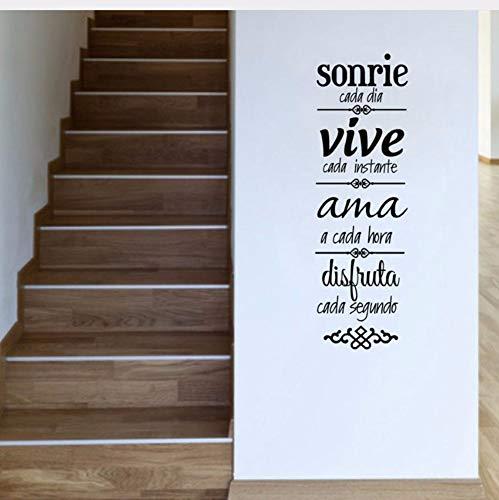 Zjxxm Spanische Hausordnung Wandaufkleber Dekoration Wohnzimmer Spanische Version Normas De Casa Vinilos Decorativos Kunst Decals D092 90 * 28 Cm