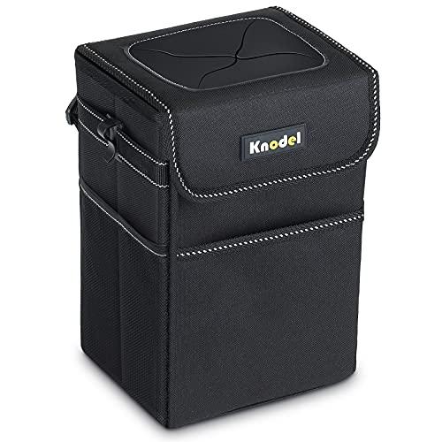 Knodel Auto-Müllsack, wasserdichter Auto-Mülleimer mit Deckel, Auto-Müllsack-Aufhängung, auslaufsicherer Auto-Aufbewahrungsbeutel (Schwarz)