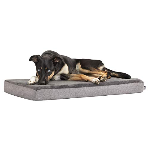 Barkbox Memory Foam Platform Dog Bed | Plush Mattress for Orthopedic Joint Relief (Medium, Grey)