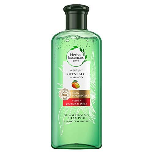 avis shampoing sans silicone professionnel Herbal Essence, shampooing sans sulfate d'aloès et de mangue, cheveux colorés, 225 ml