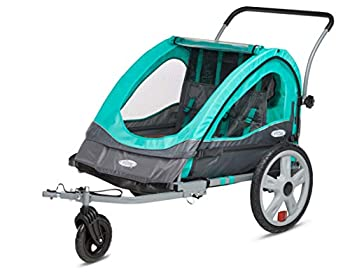 Instep Quick-N-EZ Double Tow Behind Bike Trailer Converts to Stroller/Jogger Teal