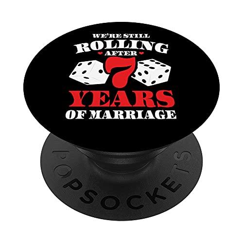 Parejas casadas 7 años - Divertido 7 aniversario de boda PopSockets PopGrip Intercambiable
