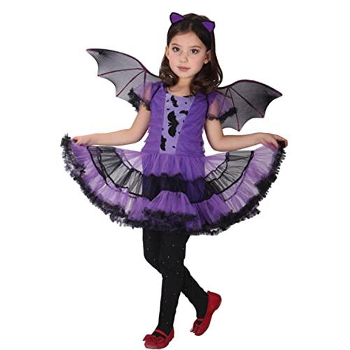 Costume da Strega delle Ragazze, Neonato Completi Bambini Ragazze Costume di Halloween Bambino Abito da Festa + Fascia per Capelli + Bat Ala Vestito Abbigliamento Costume Regalo