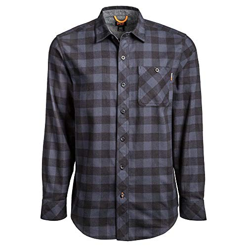 Timberland PRO Men's A1V49 Woodfort Mid-Weight Flannel Work Shirt - X-Large - Navy Buffalo Check
