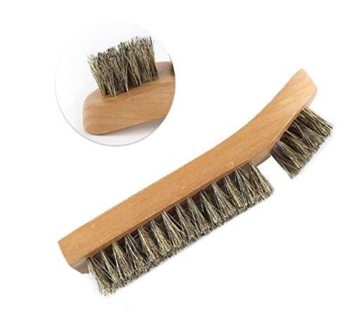 Logo ZHJMGS 15.3cm Quadrat Schuhbürste Haarbürste weicher Schuh Pinsel Holz Pinsel Lederschuhe Männer/Frauen-Bürsten-Schuhzubehör Küchenbürste, Schuhe (Color : Green Gold)