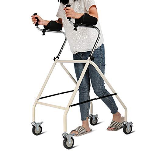 Gehhilfe Rollator Stahl Rollator Walker mit Armlehnen, Falten 4 Rad Schwerlast Rollator für Senioren, Begrenzte Mobilitätshilfe, Weiß, Laden Sie 180 kg
