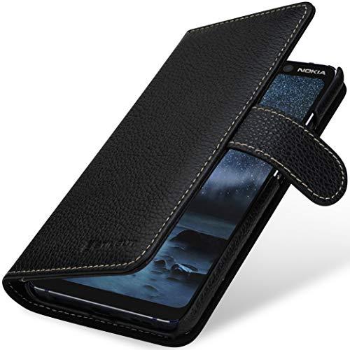 StilGut Talis kompatibel mit Nokia 9 PureView Hülle mit Kartenfach aus Leder, Wallet Hülle, Lederhülle mit Fächern und Magnet-Verschluss - Schwarz