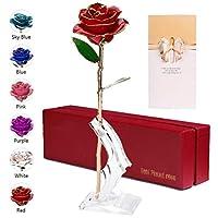 💕 Rosa eterna placcata in oro --- Un fiore di rosa preservato per sempre è la migliore idea regalo per esprimere il tuo amore per sempre a lei. può regalare agli amanti, alla famiglia, agli amici. Ed è anche usato per la proposta di matrimonio, anniv...