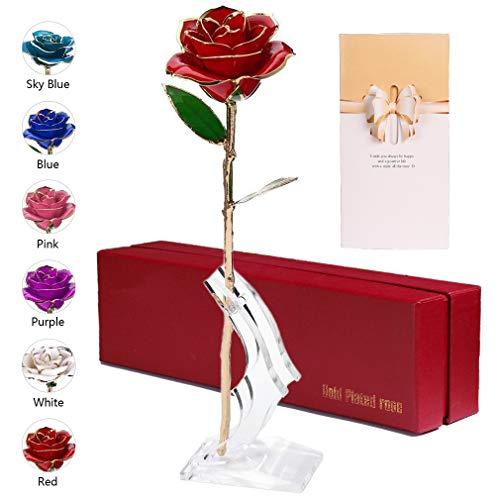 anaoo Rosa 24K, Rosa Eterna Flores Chapadas en Oro con Caja de Regalo para el Día de San Valentín Día de la Madre, Aniversario, Cumpleaños Dorado-Rojo