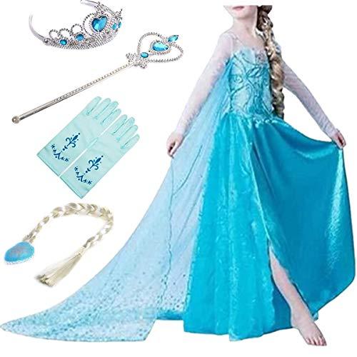 YOGLY Mädchen Prinzessin Elsa Kleid Kostüm Eisprinzessin Set aus Diadem, Handschuhe, Zauberstab, 110, blau